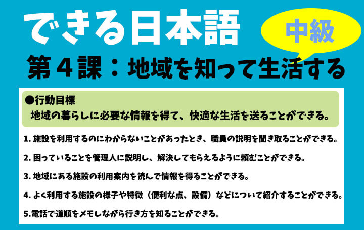 できる日本語:中級 第4課 地域を知って生活する