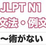 【JLPT N1】文法・例文:〜術がない
