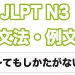 【JLPT N3】文法・例文:〜てもしかたがない / 〜てもしょうがない