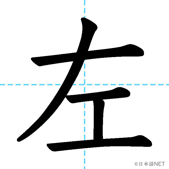 【JLPT N5漢字】「左」の意味・読み方・書き順