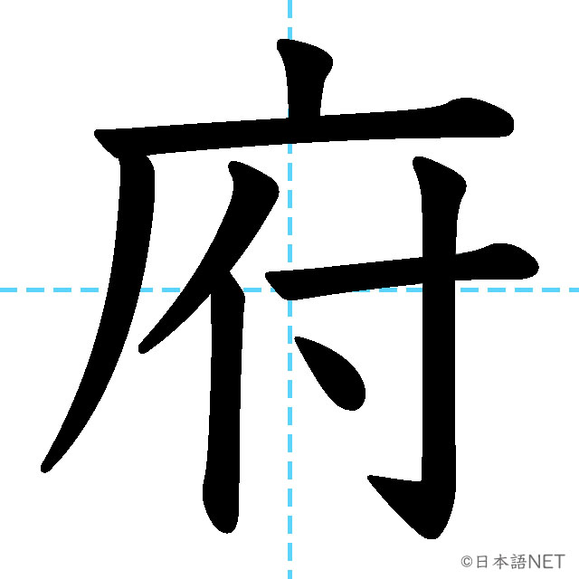 【JLPT N4漢字】「府」の意味・読み方・書き順