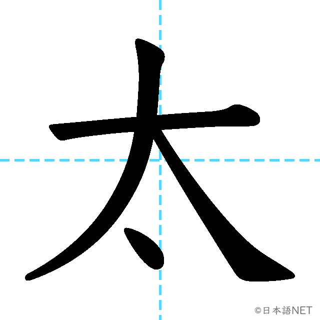 【JLPT N4漢字】「太」の意味・読み方・書き順