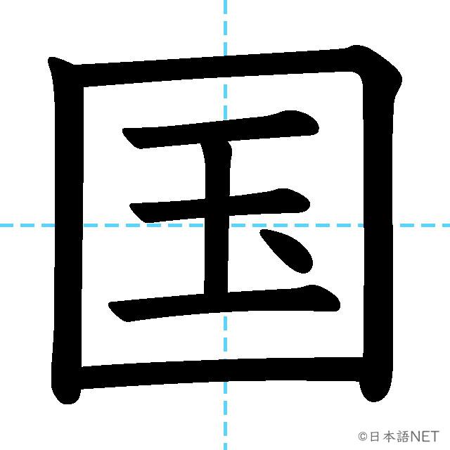 【JLPT N5漢字】「国」の意味・読み方・書き順