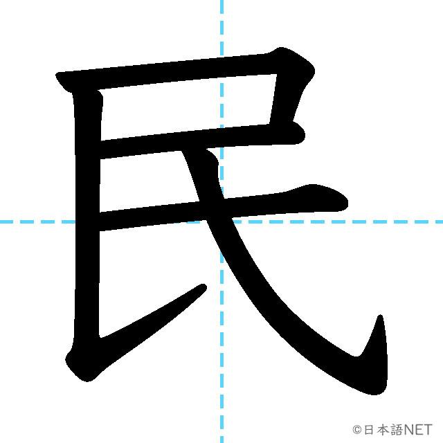 【JLPT N4漢字】「民」の意味・読み方・書き順