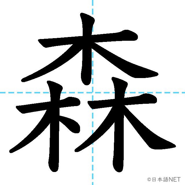 【JLPT N4漢字】「森」の意味・読み方・書き順