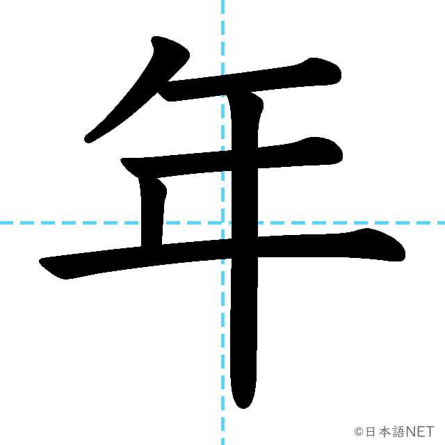 【JLPT N5漢字】「年」の意味・読み方・書き順