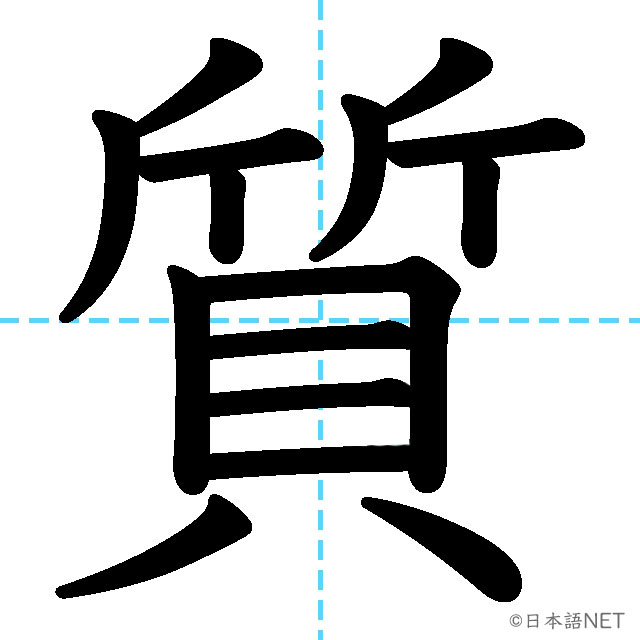 【JLPT N4漢字】「質」の意味・読み方・書き順