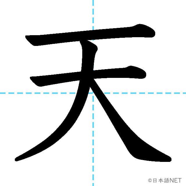 【JLPT N5漢字】「天」の意味・読み方・書き順