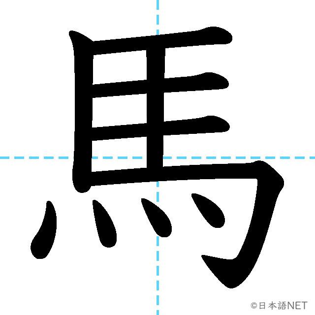 【JLPT N5漢字】「馬」の意味・読み方・書き順