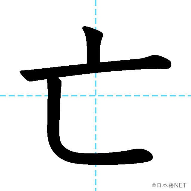 【JLPT N3漢字】「亡」の意味・読み方・書き順