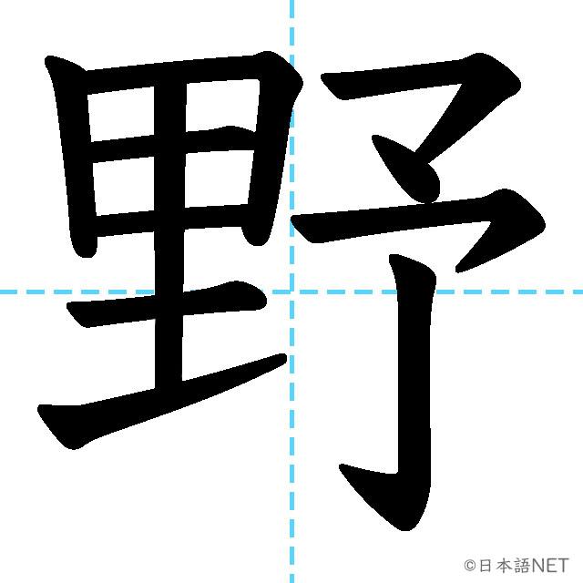 【JLPT N4漢字】「野」の意味・読み方・書き順