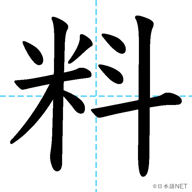 【JLPT N4漢字】「料」の意味・読み方・書き順
