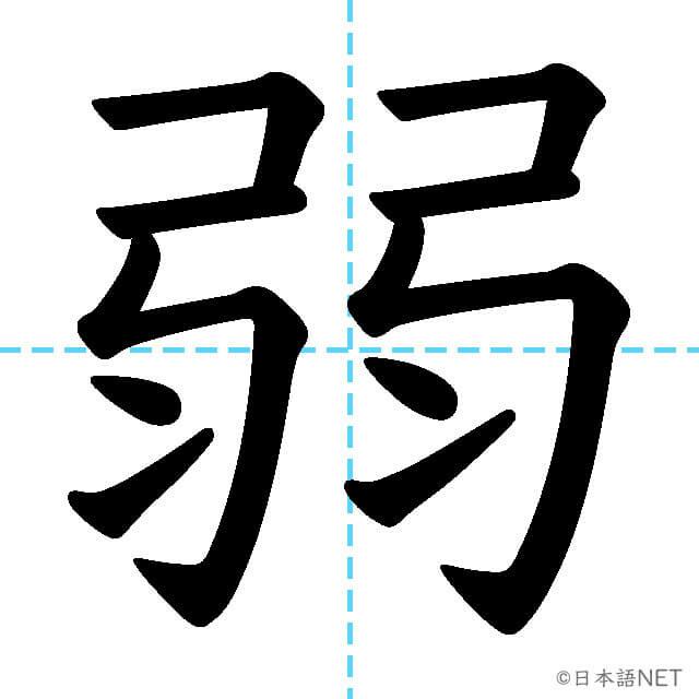 【JLPT N4漢字】「弱」の意味・読み方・書き順