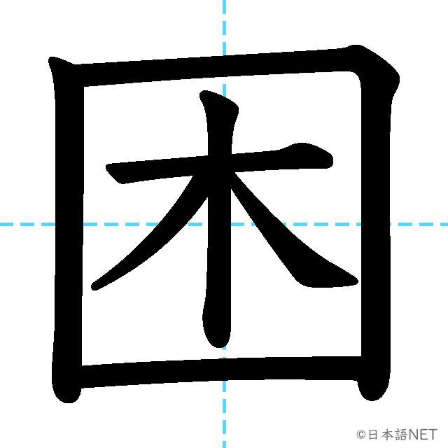 【JLPT N3漢字】「困」の意味・読み方・書き順