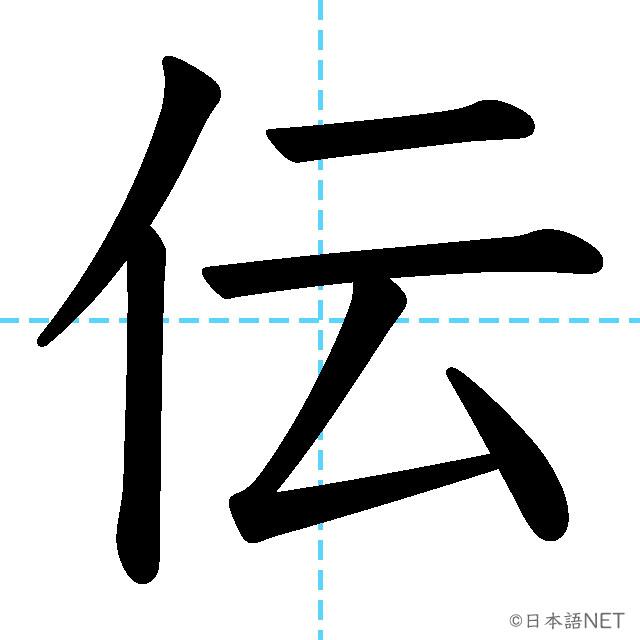 【JLPT N3漢字】「伝」の意味・読み方・書き順