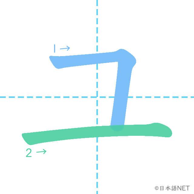 カタカナ「ユ」の書き順