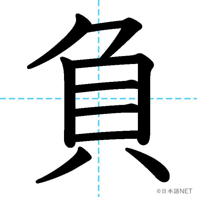 【JLPT N3漢字】「負」の意味・読み方・書き順