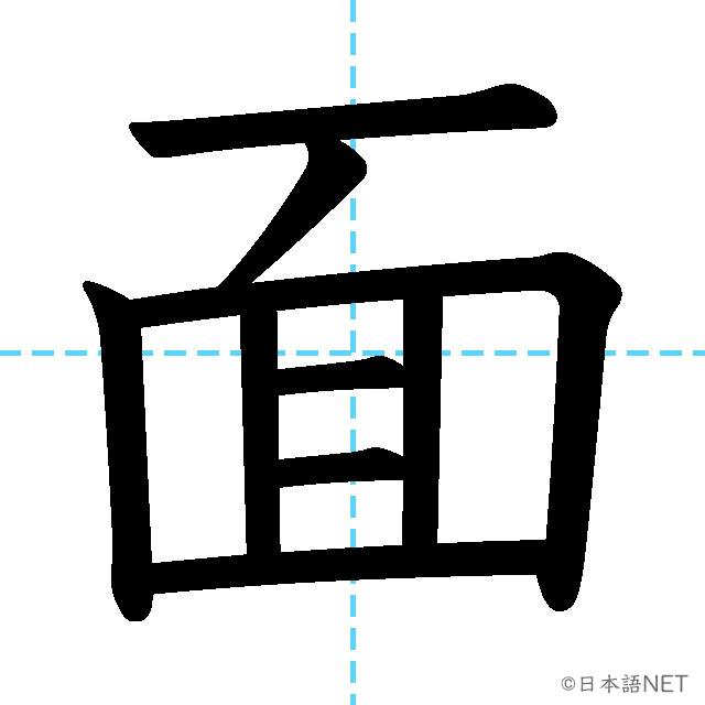 【JLPT N3漢字】「面」の意味・読み方・書き順