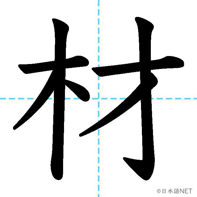 【JLPT N3漢字】「材」の意味・読み方・書き順