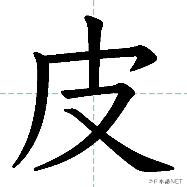 【JLPT N2漢字】「皮」の意味・読み方・書き順