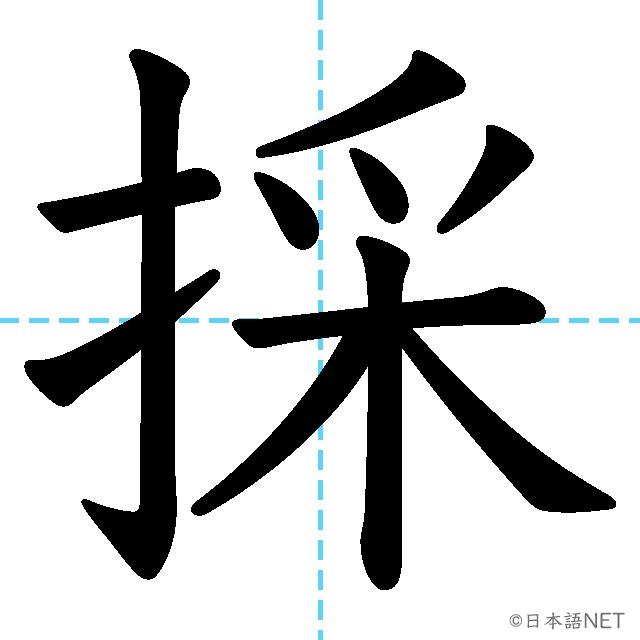 【JLPT N2漢字】「採」の意味・読み方・書き順