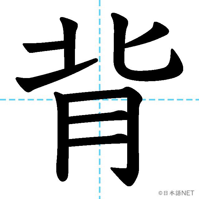 【JLPT N2漢字】「背」の意味・読み方・書き順