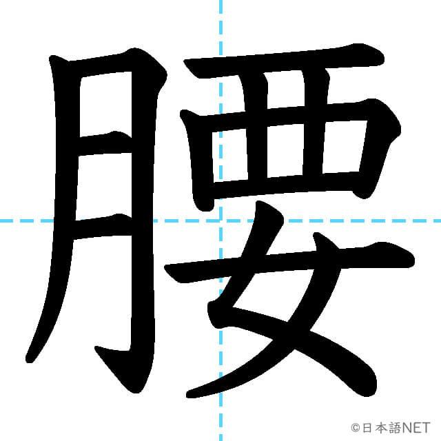 【JLPT N2漢字】「腰」の意味・読み方・書き順