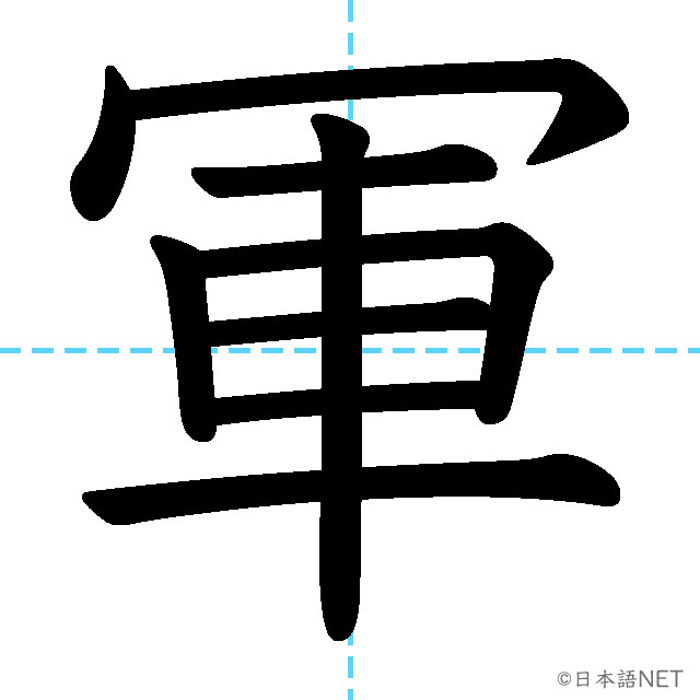【JLPT N2漢字】「軍」の意味・読み方・書き順