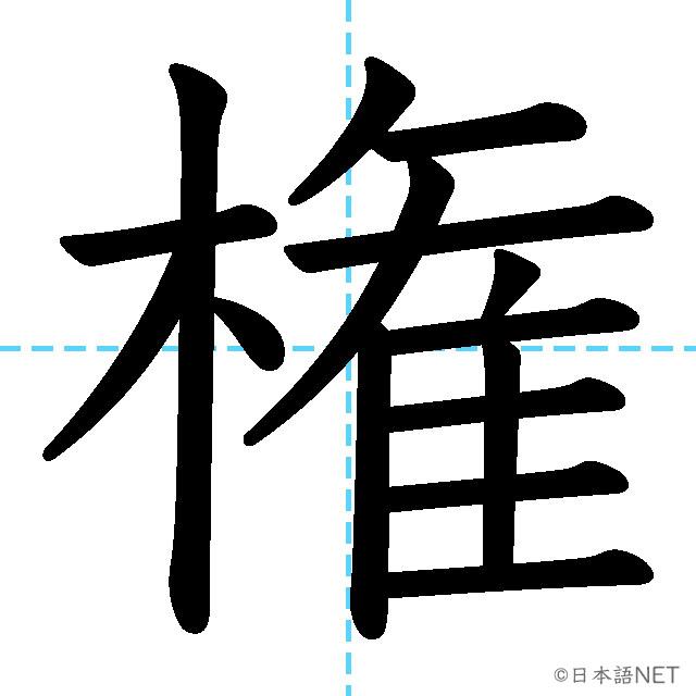 【JLPT N2漢字】「権」の意味・読み方・書き順